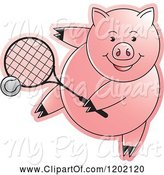Swine Clipart of Sporty Pig Playing Tennis by Lal Perera