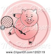 Swine Clipart of Sporty Pig Playing Tennis Icon by Lal Perera