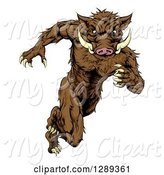 Swine Clipart of Sprinting Muscular Boar Guy by AtStockIllustration