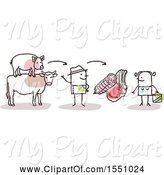 Swine Clipart of Stick Guy Farmer Selling Pork and Beef Meat to a Consumer by NL Shop