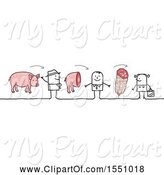Swine Clipart of Stick Guy Farmer Selling Pork to a Grocer and Consumer by NL Shop
