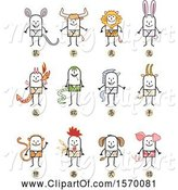 Swine Clipart of Stick Men in Chinese Zodiac Costumes by NL Shop