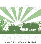Swine Clipart of Sunrise over a Green Silhouetted Farm House with Pigs and Fields by AtStockIllustration