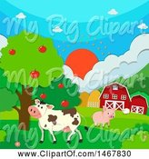 Swine Clipart of Sunset over a Barnyard and Animals by Graphics RF