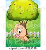 Swine Clipart of Sweating Pig Doing Push Ups by a Tree by Graphics RF