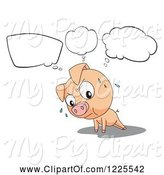 Swine Clipart of Sweating Thinking Pig Doing Push Ups by Graphics RF