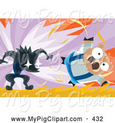 Swine Clipart of the Big Bad Wolf Blowing over a Brown Pig by Mayawizard101