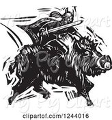 Swine Clipart of the Norse God, Frey, Riding a Charging Boar with Sword Ready, Black and White Woodcut by Xunantunich
