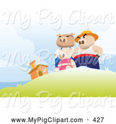 Swine Clipart of the Three Little Pigs Standing Victoriously on a Hill near Their Brick Home by Mayawizard101