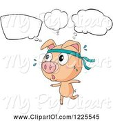 Swine Clipart of Thinking Pig Running by Graphics RF