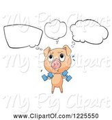 Swine Clipart of Thinking Pig Working out with Dumbbells by Graphics RF