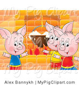 Swine Clipart of Three Pink Piggies Standing Around a Fireplace While Cooking Food in a Pot by Alex Bannykh