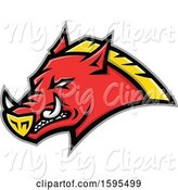 Swine Clipart of Tough Red and Yellow Russian Razorback Boar Pig Mascot Head by Patrimonio