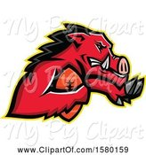 Swine Clipart of Tough Red Wild Boar Pig Sports Mascot Running with an American Football by Patrimonio