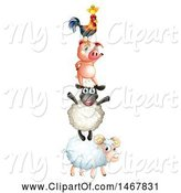 Swine Clipart of Tower of Farm Animals by Graphics RF