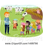 Swine Clipart of Veterinarian and Children at a Livestock Farm by BNP Design Studio