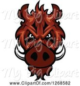 Swine Clipart of Vicious Razorback Boar Mascot Head by Vector Tradition SM