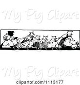 Swine Clipart of Vintage Black and White Farm Animals Holding Hands by Prawny Vintage