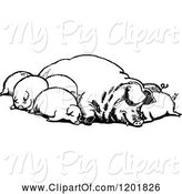 Swine Clipart of Vintage Black and White Group of Sleeping Pigs by Prawny Vintage
