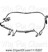 Swine Clipart of Vintage Black and White Pig by Prawny Vintage