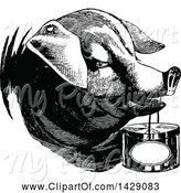 Swine Clipart of Vintage Black and White Pig Carrying a Basket by Prawny Vintage