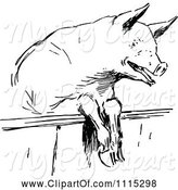 Swine Clipart of Vintage Black and White Pig Looking over a Fence by Prawny Vintage