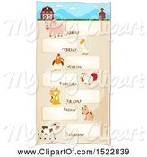 Swine Clipart of Week Timetable Chart with Farm Animals by Graphics RF