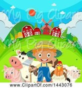 Swine Clipart of White Boy Farmer with His Critters by Graphics RF