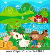 Swine Clipart of White Boy Farmer with Livestock by Graphics RF