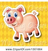 Swine Clipart of White Outlined Pig over a Yellow Diamond Pattern by Graphics RF