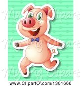 Swine Clipart of White Outlined Pig Running over Green Stripes and Balls by Graphics RF