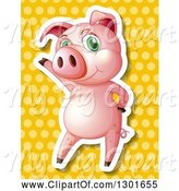 Swine Clipart of White Outlined Pig Standing and Waving over a Yellow Polka Dot Pattern by Graphics RF