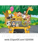 Swine Clipart of Wild Animals in a Zoo Bus by Graphics RF