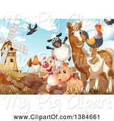 Swine Clipart of Windmill and Livestock by Graphics RF