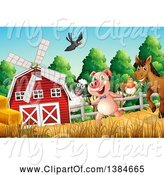 Swine Clipart of Windmill Barn with Livestock by Graphics RF