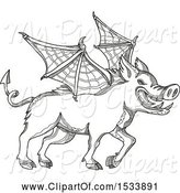 Swine Clipart of Winged Boar Pig, in Black and White Zentangle Design by Patrimonio