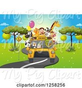 Swine Clipart of Zoo Bus with Animals by Graphics RF