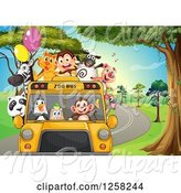 Swine Clipart of Zoo Bus with Party Animals on a Road by Graphics RF
