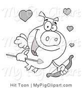 Vector Clipart of an Outlined Pig Cupid Flying a Bow and Arrow with Hearts by Hit Toon