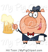Vector Swine Clipart of a Bar Tender Pig by Hit Toon