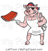 Vector Swine Clipart of a Bbq Pirate Pig Holding Ribs by LaffToon