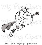 Vector Swine Clipart of a Black and White Super Pig by Hit Toon
