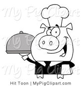 Vector Swine Clipart of a Black and White Waiter Pig Serving a Platter by Hit Toon