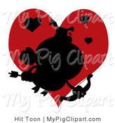 Vector Swine Clipart of a Black Silhouette of a Cupid Pig Flying in Front of a Red Heart by Hit Toon