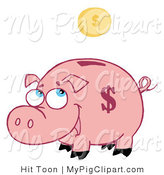 Vector Swine Clipart of a Coin Above a Piggy Bank by Hit Toon