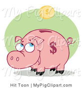 Vector Swine Clipart of a Coin Bank Pig by Hit Toon