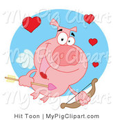 Vector Swine Clipart of a Cupid Pig with an Arrow by Hit Toon