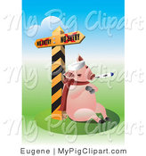Vector Swine Clipart of a Flu Sick Pig by a Quarantine Sign by Eugene