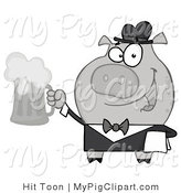 Vector Swine Clipart of a Grayscale Server Pig with Beer by Hit Toon