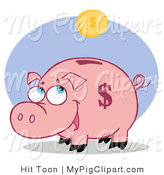 Vector Swine Clipart of a Happy Piggy Bank Waiting for a Coin Fall into His Slot by Hit Toon